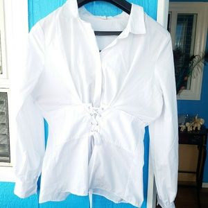 3/$30Miss Lili Long Sleeves Corset Laceup Top Sz L
